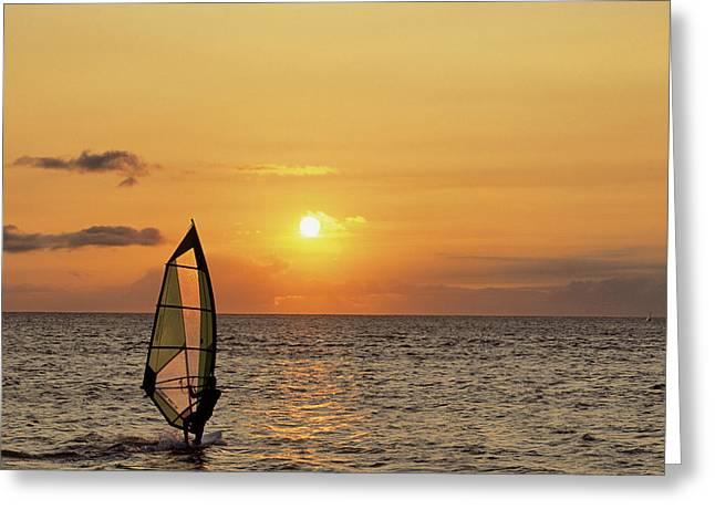 Usa, Maui, Hawaii, Sunset, Windsurfing Greeting Card by Gerry Reynolds
