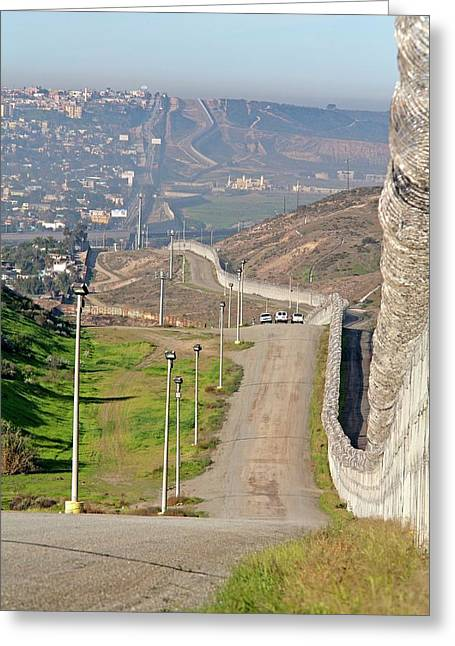 Usa-mexico Border Surveillance Greeting Card by Jim West