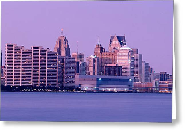 Renaissance Center Greeting Cards - Usa, Michigan, Detroit, Twilight Greeting Card by Panoramic Images