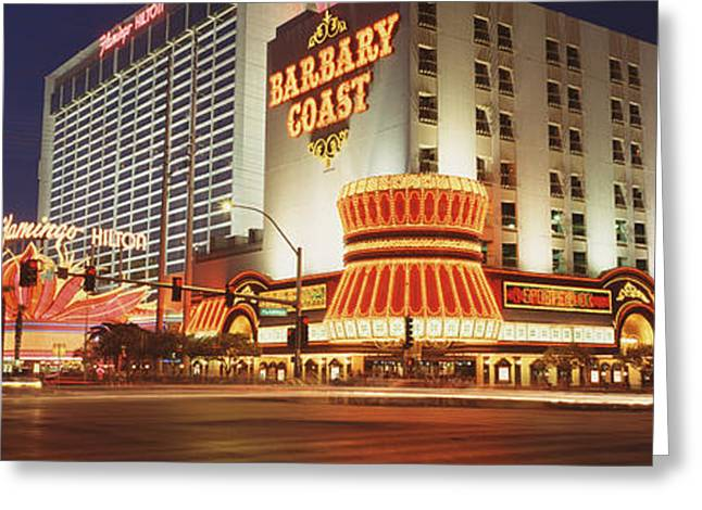 Commercial Photography Greeting Cards - Usa, Nevada, Las Vegas, Buildings Lit Greeting Card by Panoramic Images