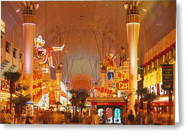 Las Vegas Greeting Cards - Usa, Nevada, Las Vegas, Night Greeting Card by Panoramic Images