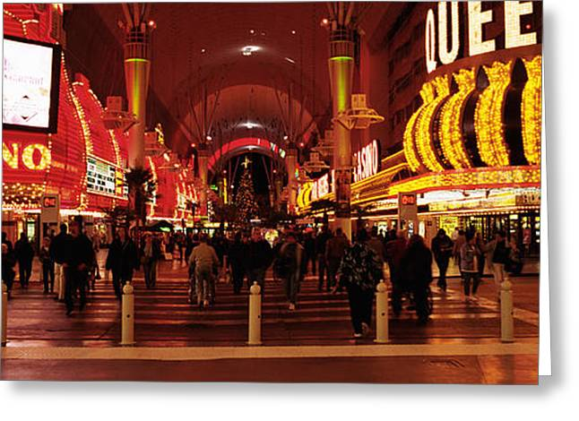Fremont Street Greeting Cards - Usa, Nevada, Las Vegas, The Fremont Greeting Card by Panoramic Images