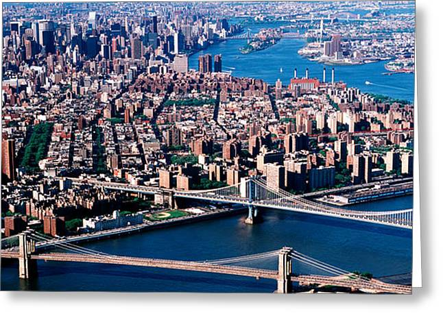 Population Greeting Cards - Usa, New York, Brooklyn Bridge, Aerial Greeting Card by Panoramic Images