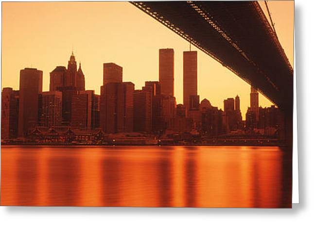 Usa, New York, East River And Brooklyn Greeting Card by Panoramic Images