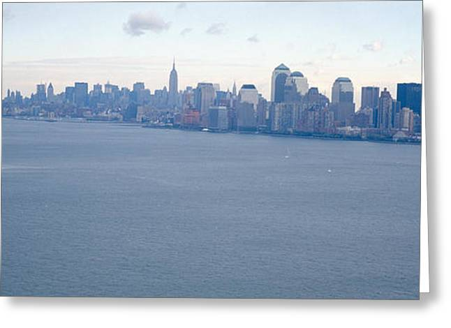 Overcast Day Greeting Cards - Usa, New York, Statue Of Liberty Greeting Card by Panoramic Images
