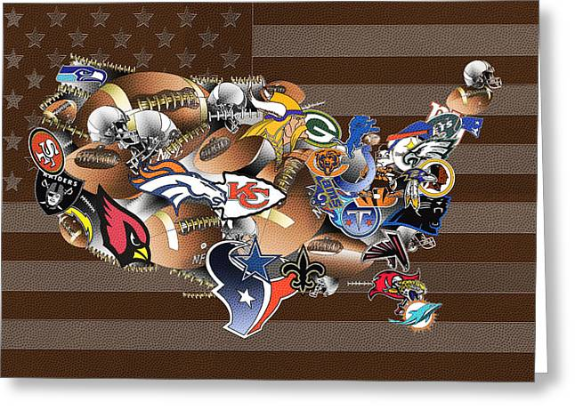 Staubach Greeting Cards - Usa Nfl Map Collage 2 Greeting Card by MB Art factory