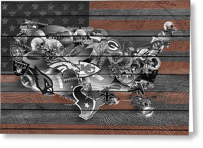 Staubach Greeting Cards - Usa Nfl Map Collage 4 Greeting Card by MB Art factory
