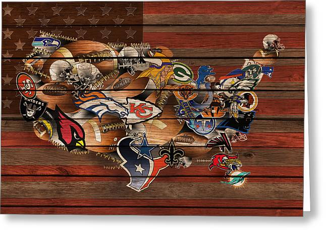 Staubach Greeting Cards - Usa Nfl Map Collage 6 Greeting Card by MB Art factory