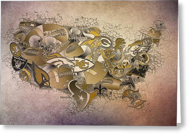 Staubach Greeting Cards - Usa Nfl Map Collage 8 Greeting Card by MB Art factory