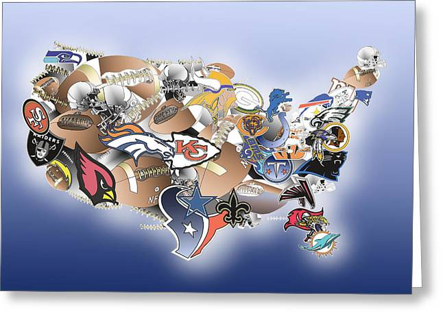 Linebacker U Greeting Cards - Usa Nfl Map Collage Greeting Card by MB Art factory