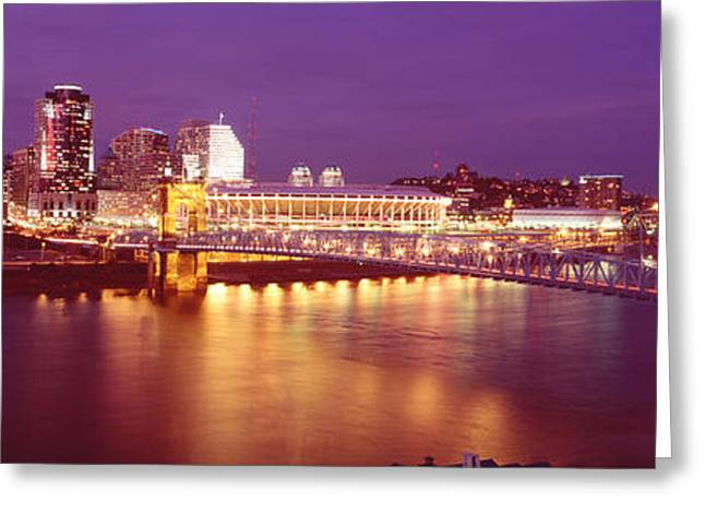 Illuminate Greeting Cards - Usa, Ohio, Cincinnati, Night Greeting Card by Panoramic Images