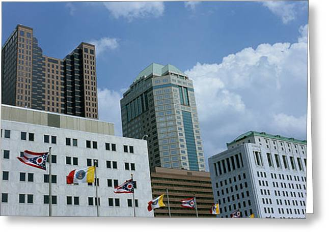 Commercial Building Greeting Cards - Usa, Ohio, Columbus, Cloud Over Tall Greeting Card by Panoramic Images
