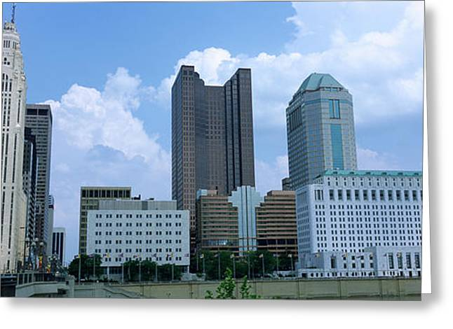 Commercial Building Greeting Cards - Usa, Ohio, Columbus, Clouds Over Tall Greeting Card by Panoramic Images
