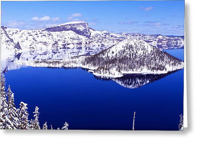 Crater Lake Greeting Cards - Usa, Oregon, Crater Lake National Park Greeting Card by Panoramic Images