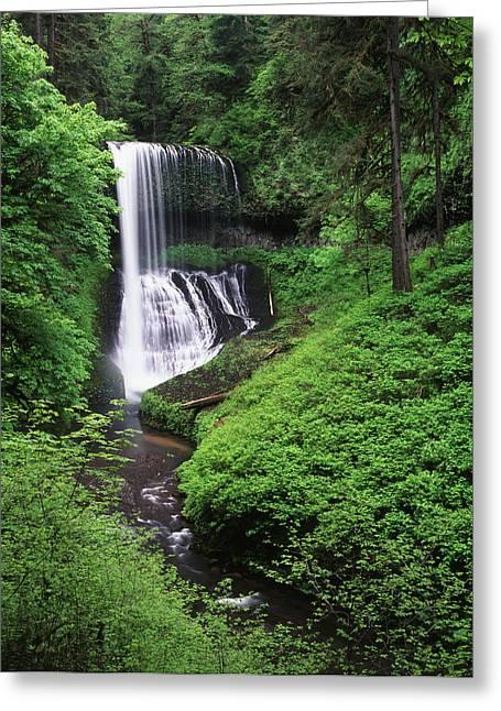Usa, Oregon, Middle North Falls, Silver Greeting Card by Adam Jones