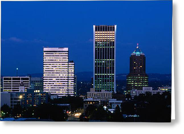 City Buildings Greeting Cards - Usa, Oregon, Portland, Moon, Night Greeting Card by Panoramic Images