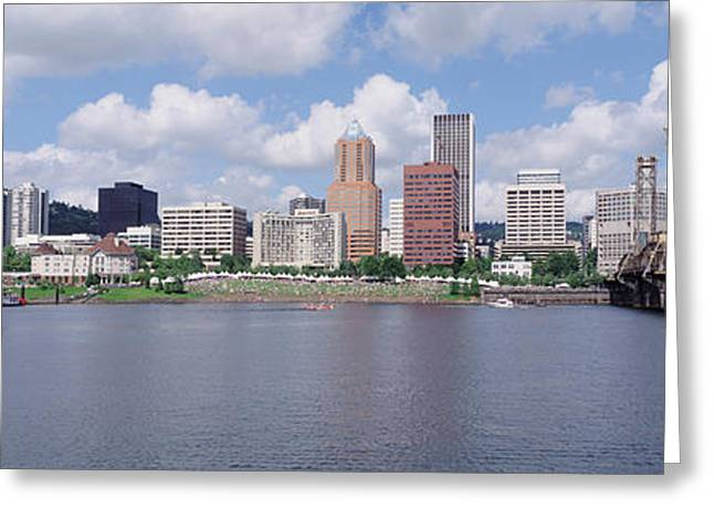 Willamette Greeting Cards - Usa, Oregon, Portland, Willamette River Greeting Card by Panoramic Images