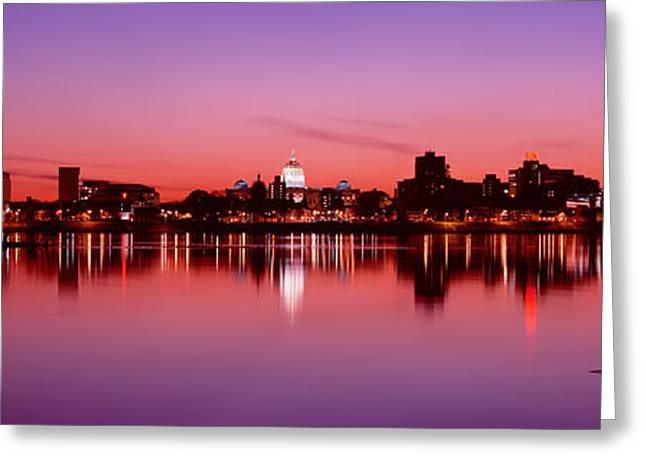 Capitol Greeting Cards - Usa, Pennsylvania, Harrisburg At Dusk Greeting Card by Panoramic Images
