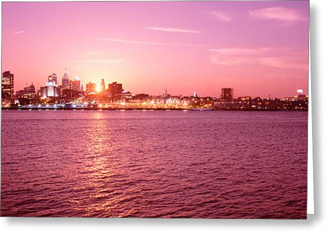 Franklin Greeting Cards - Usa, Pennsylvania, Philadelphia At Dusk Greeting Card by Panoramic Images