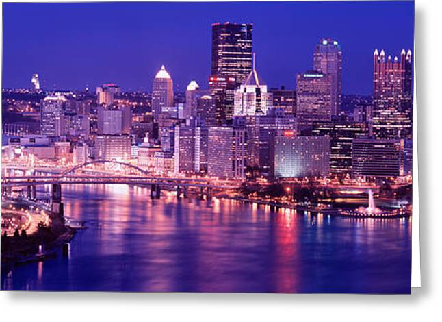 Monongahela River Greeting Cards - Usa, Pennsylvania, Pittsburgh At Dusk Greeting Card by Panoramic Images