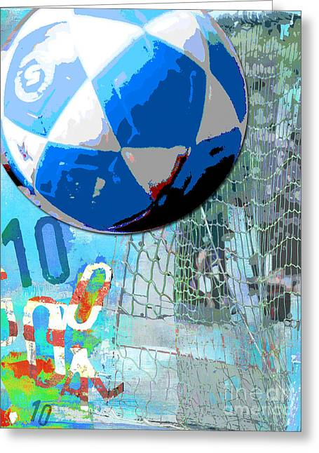 Kids Sports Greeting Cards - USA Soccer Ball Goal Greeting Card by ArtyZen Home