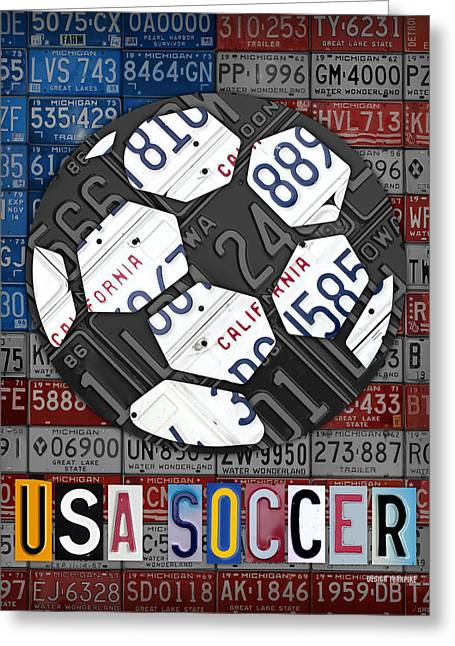 Usa Mixed Media Greeting Cards - USA Soccer Recycled Vintage License Plate Art Greeting Card by Design Turnpike
