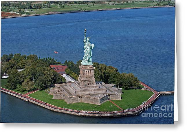 Areal Greeting Cards - USA Statue of Liberty Greeting Card by Lars Ruecker