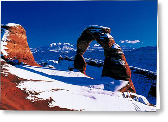 Winter Day Greeting Cards - Usa, Utah, Delicate Arch, Winter Greeting Card by Panoramic Images
