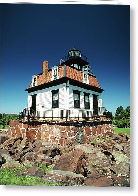 Usa, Vermont, Shelburne, Lighthouse Greeting Card by Walter Bibikow