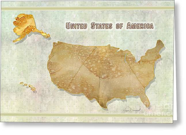 Licensor Digital Greeting Cards - USA Vintage Style Map Unique Design Digital and Painted Collage by Megan Duncanson Greeting Card by Megan Duncanson
