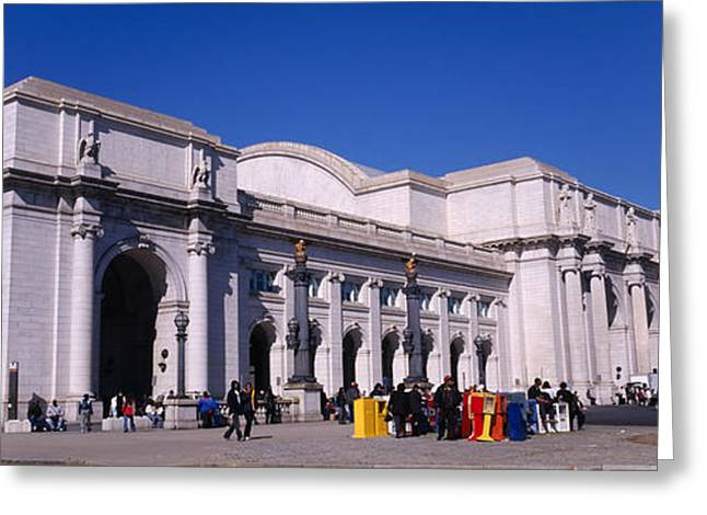 Flag Of Usa Greeting Cards - Usa, Washington Dc, Tourists Walking Greeting Card by Panoramic Images