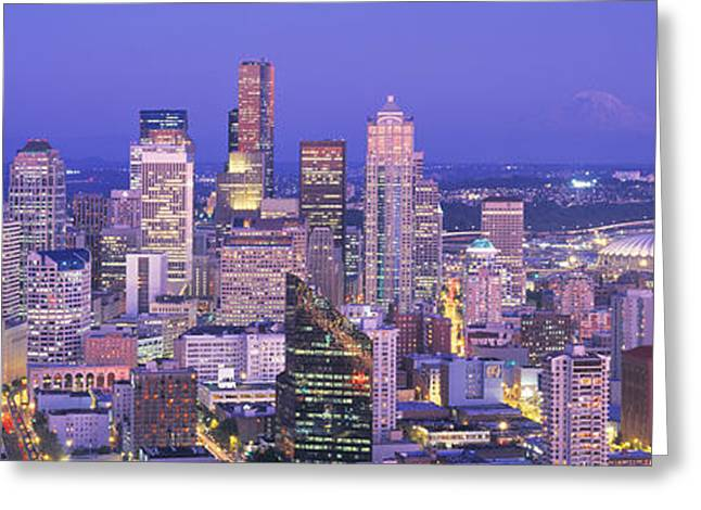 Commercial Photography Greeting Cards - Usa, Washington, Seattle, Cityscape Greeting Card by Panoramic Images