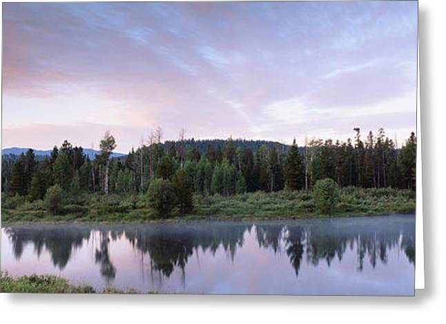 Misty Pine Photography Greeting Cards - Usa, Wyoming, Grand Teton Park, Ox Bow Greeting Card by Panoramic Images