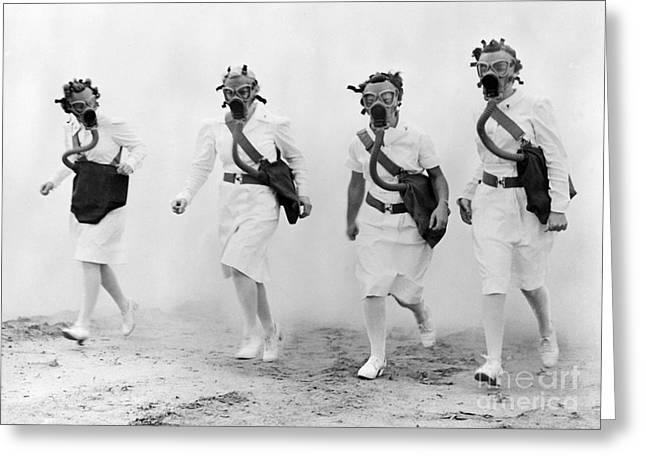 United States Army Air Forces Greeting Cards - Usaaf Nurses Gas Mask Drill, 1942 Greeting Card by Science Source