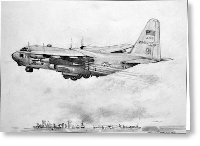 Ac-130 Greeting Cards - USAF AC-130 Hercules Gunship Greeting Card by Jim Hubbard