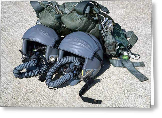 Safety Gear Greeting Cards - USAF Gear Greeting Card by Olivier Le Queinec