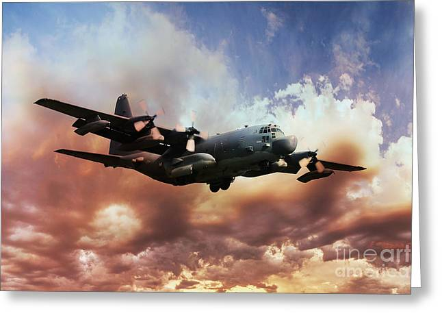 C-130 Greeting Cards - USAF Hercules Greeting Card by J Biggadike