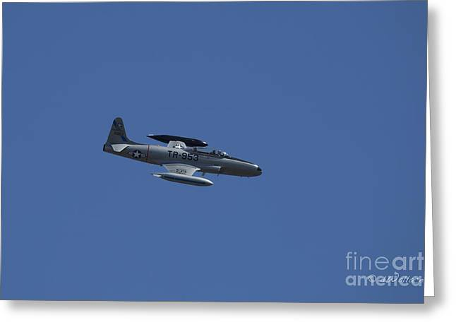 Foundation 1 Greeting Cards - USAF Lockheed T-33 TR-953 Fly By Greeting Card by D Wallace