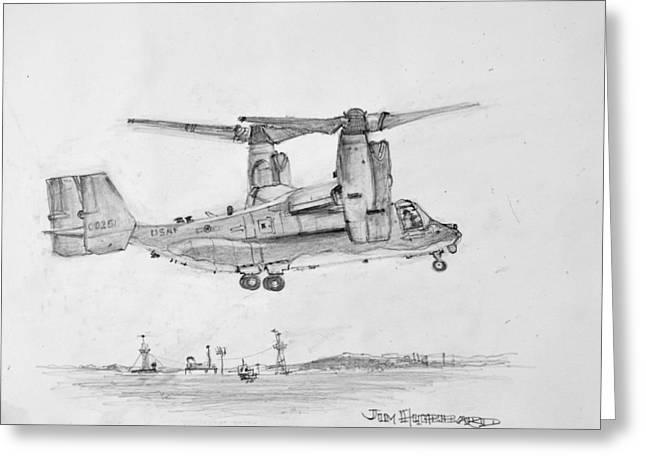 Osprey Drawings Greeting Cards - USAF OspreyTilt Rotor Aircraft CV-22 Greeting Card by Jim Hubbard