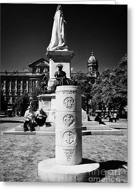 Stone Ground Greeting Cards - usaf second world war memorial in the grounds of Belfast city hall in city centre Greeting Card by Joe Fox