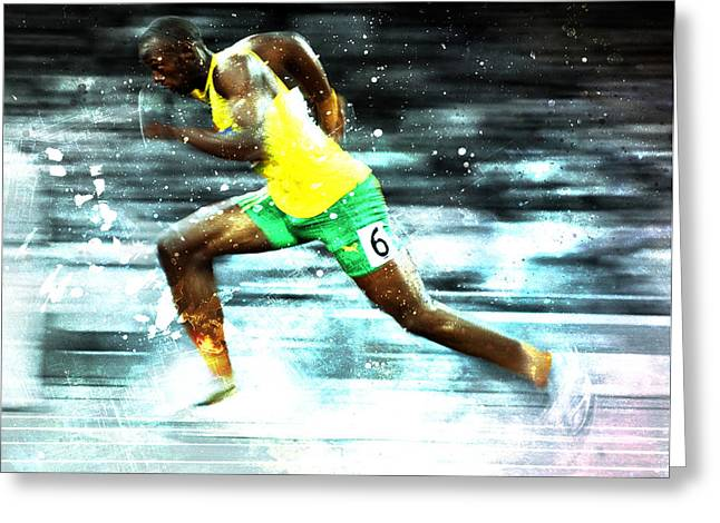 Usain Bolt Greeting Card by Brian Reaves