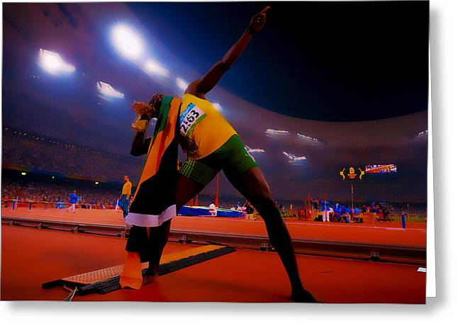 Sprinter Digital Greeting Cards - Usain Bolt Number One Greeting Card by Brian Reaves