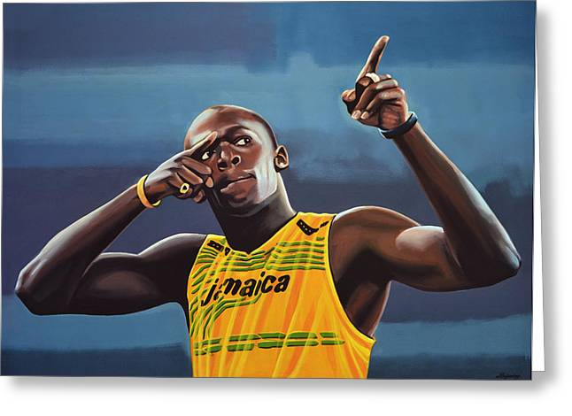 Realistic Greeting Cards - Usain Bolt  Greeting Card by Paul  Meijering