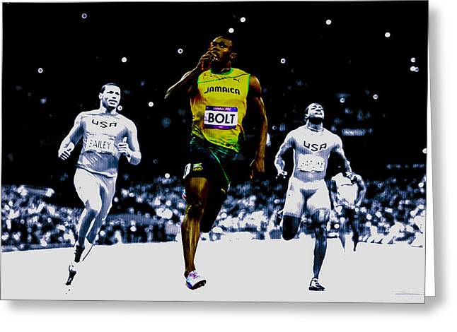 Usain Bolt Sweet Victory Greeting Card by Brian Reaves