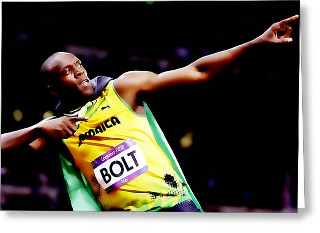 Usain Bolt Sweet Victory II Greeting Card by Brian Reaves