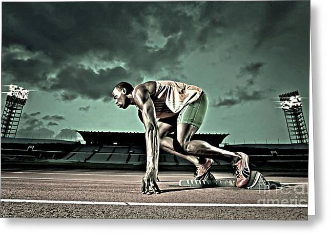 Level Of Speed Greeting Cards - Usain Bolt track and field Greeting Card by Lanjee Chee