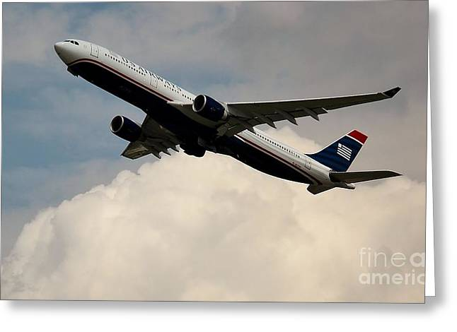 Rene Triay Photography Greeting Cards - USAIR Airbus Greeting Card by Rene Triay Photography