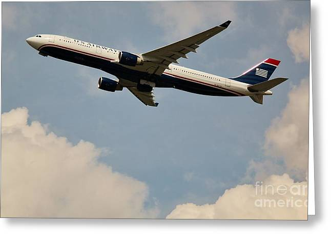 Retraction Greeting Cards - USAIR Airline Greeting Card by Rene Triay Photography