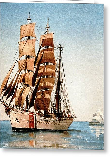 Tall Ship Greeting Cards - USC Eagle in the Arctic Greeting Card by Val Byrne