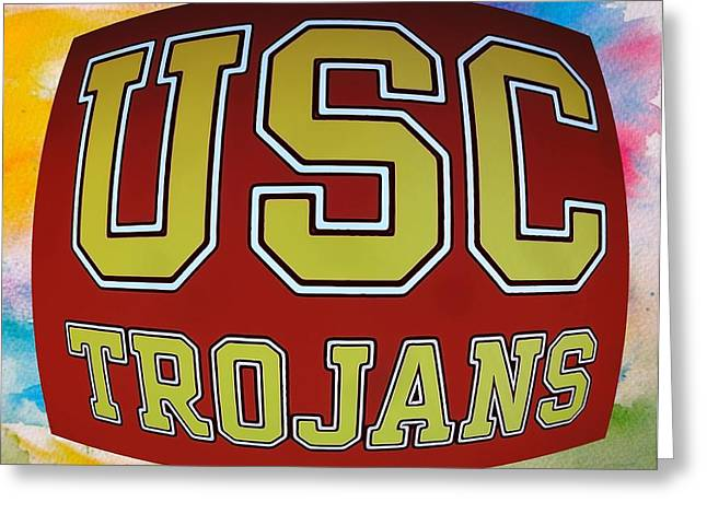 Usc Greeting Cards - USC Trojans Paint Poster Greeting Card by Dan Sproul